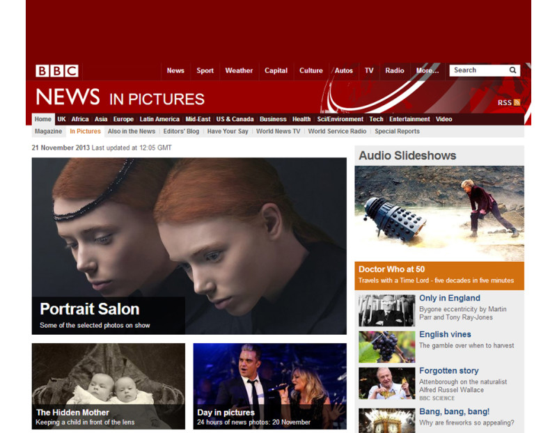"In homepage of BBC News with the portraits ""The twins"""
