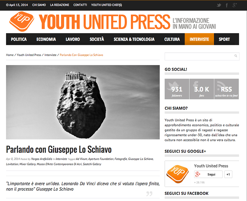 Giuseppe Lo Schiavo on Youth United Press